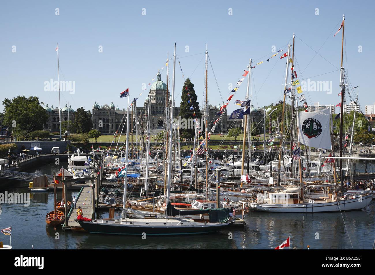 Canada Kanada BC Britisch British Columbia Vancouver Island Victoria Parliament Tall Ships Festival Inner Harbour - Stock Image