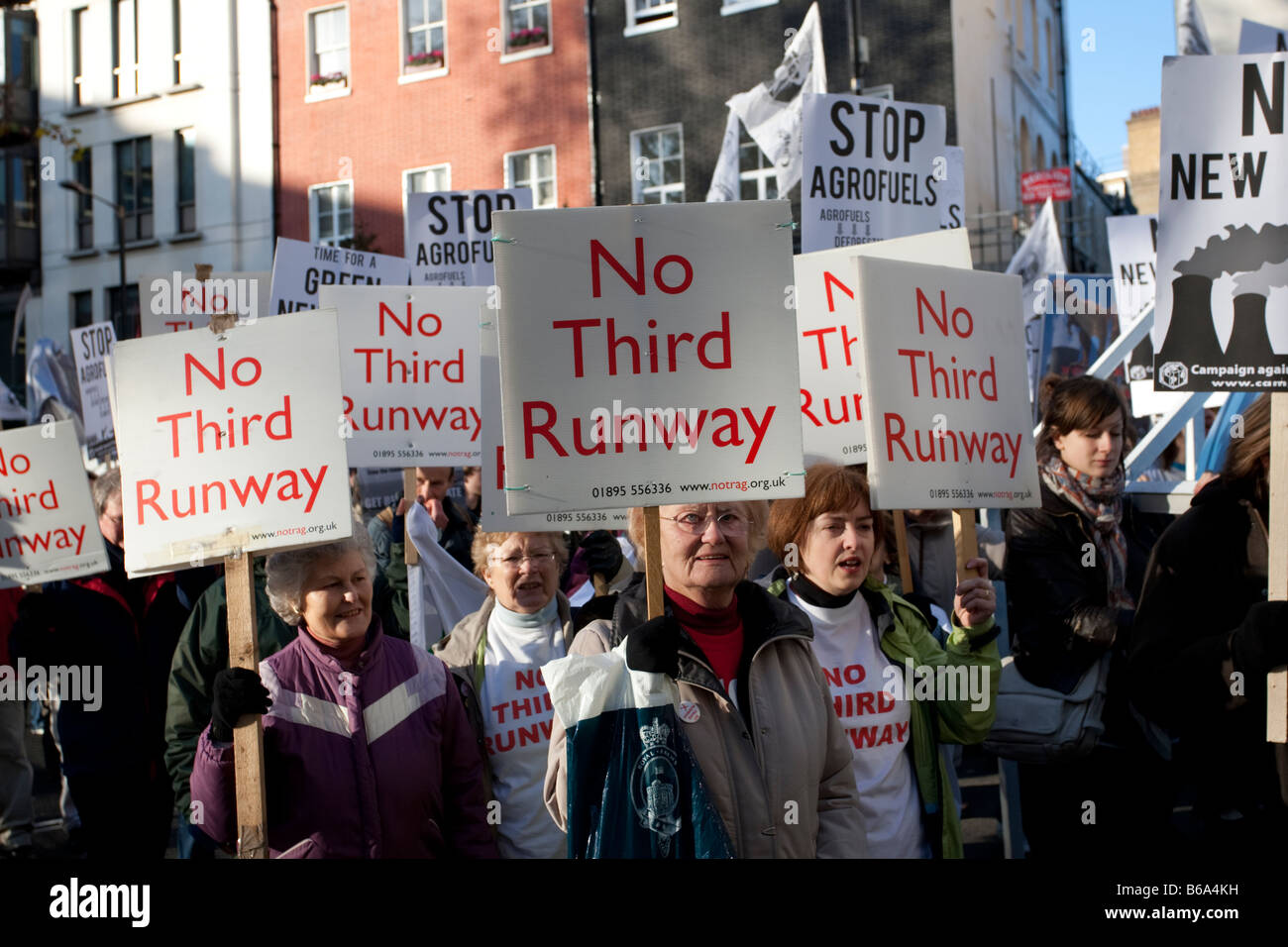 Campaigners with no third runway banner on Climate Change March London December 2008 UK - Stock Image