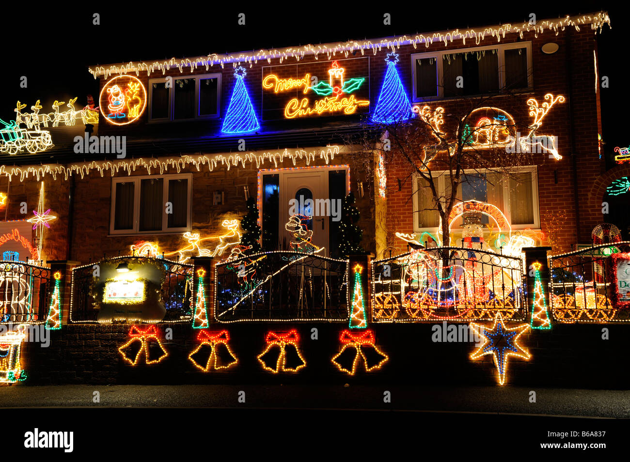 christmas lights on a house in barnsley uk stock photo 21124187 alamy