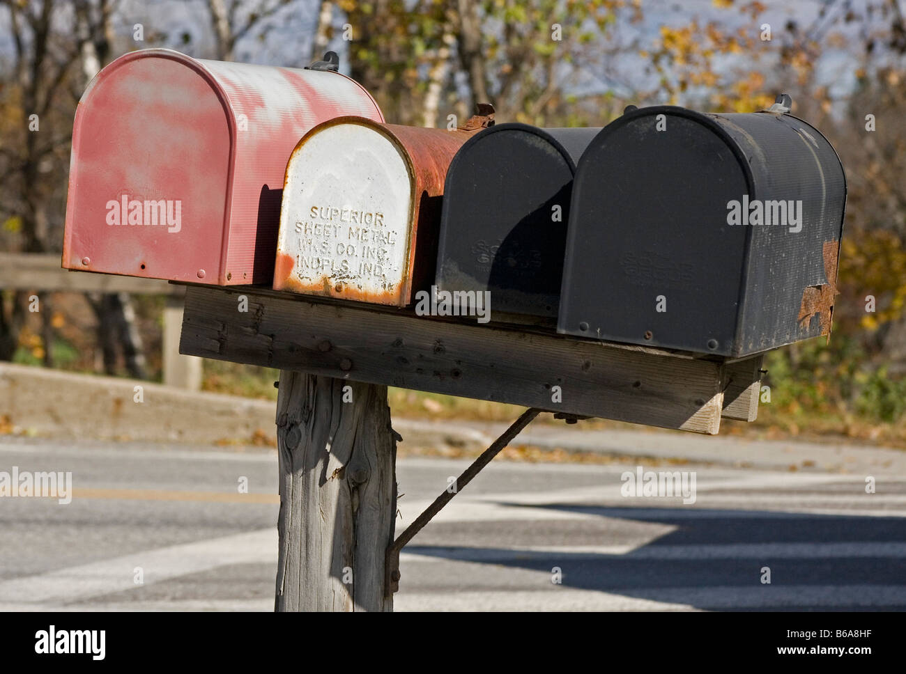 mailboxes in Stowe Vermont New England USA - Stock Image