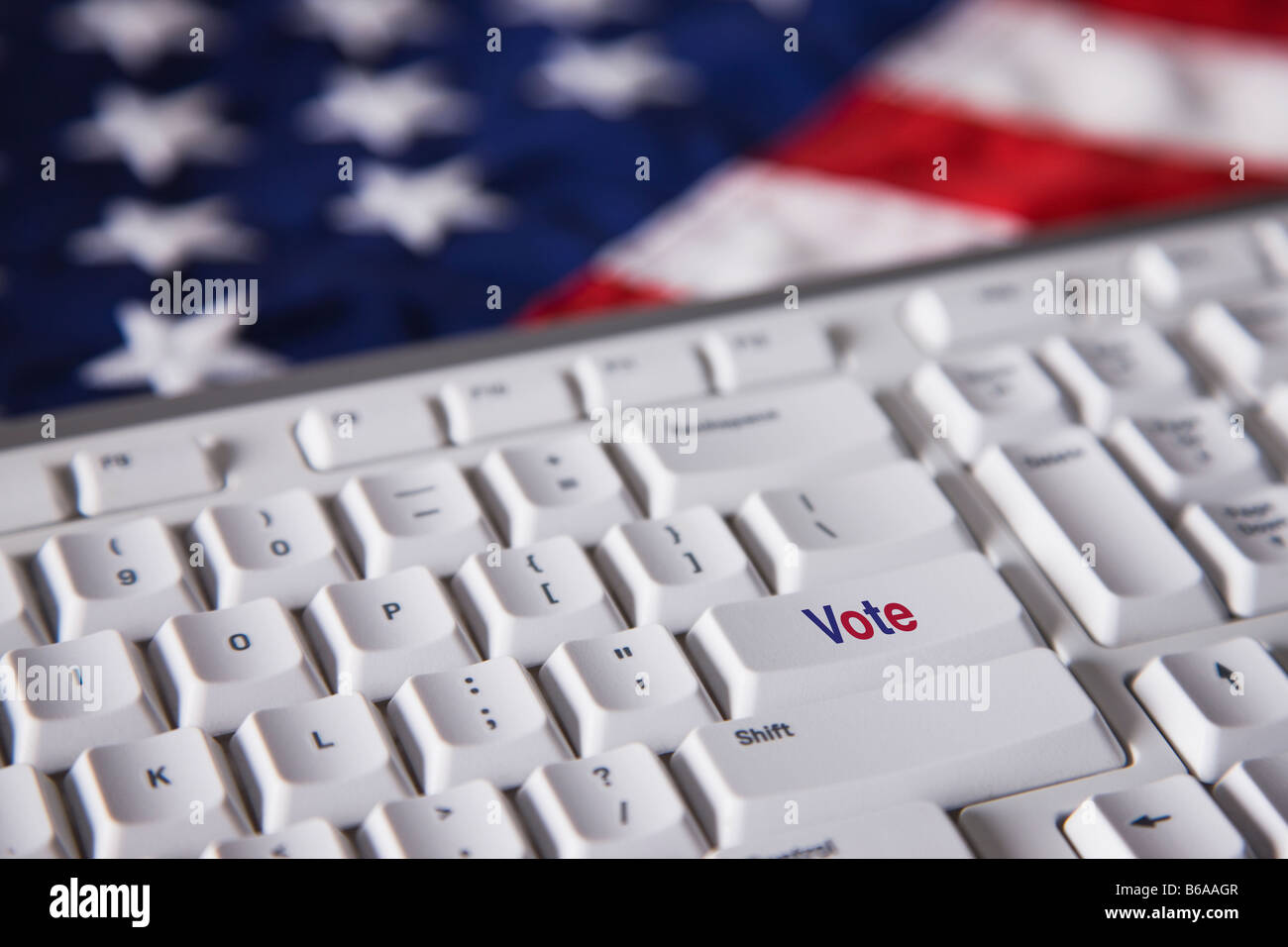 Computer keyboard with vote key - Stock Image