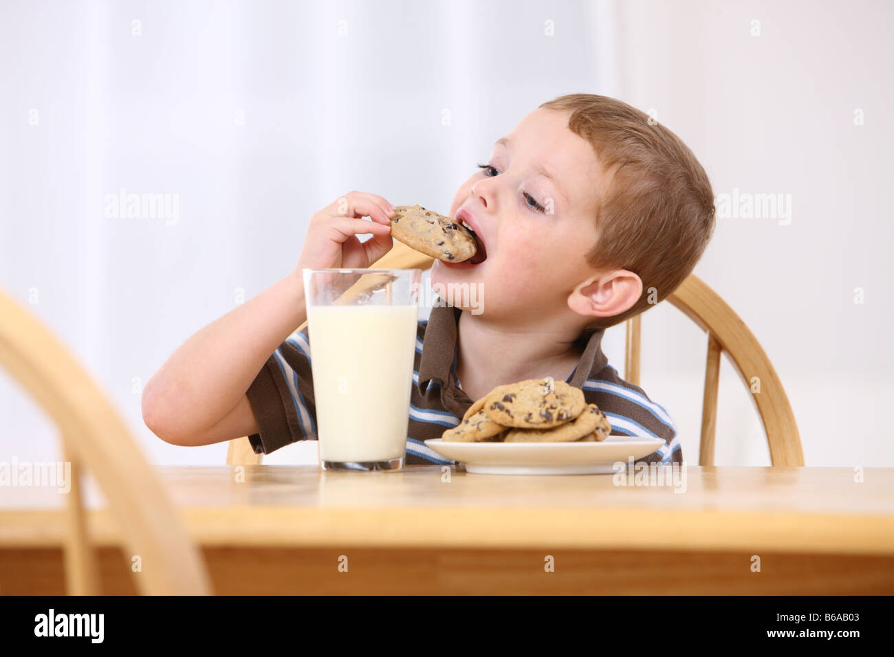 Young boy eating chocolate chip cookies and milk - Stock Image