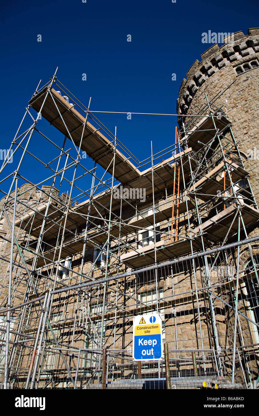 Scaffolding and construction site keep out sign Cyfarthfa Castle Merthyr Tydfil Wales UK - Stock Image