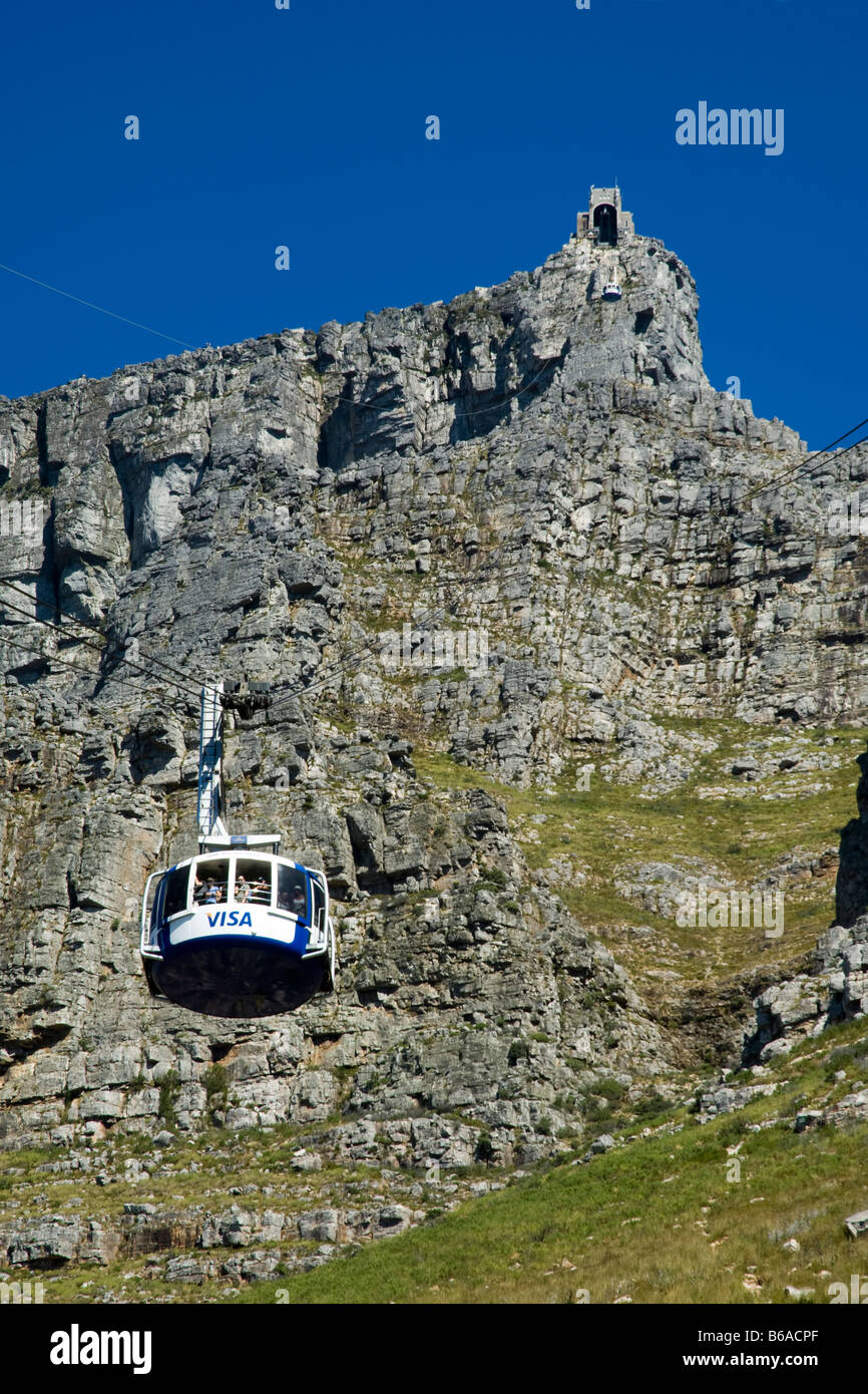 Table Mountain cable car low angle view Cape Town South Africa - Stock Image