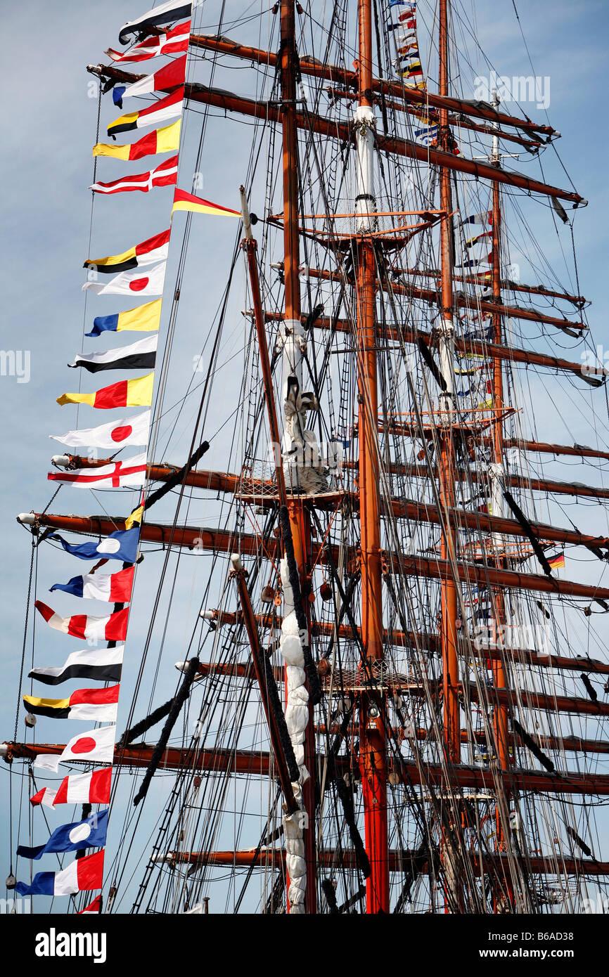 Russian tall ship Sedov, Luette Sail, Bremerhaven, northern Germany - Stock Image