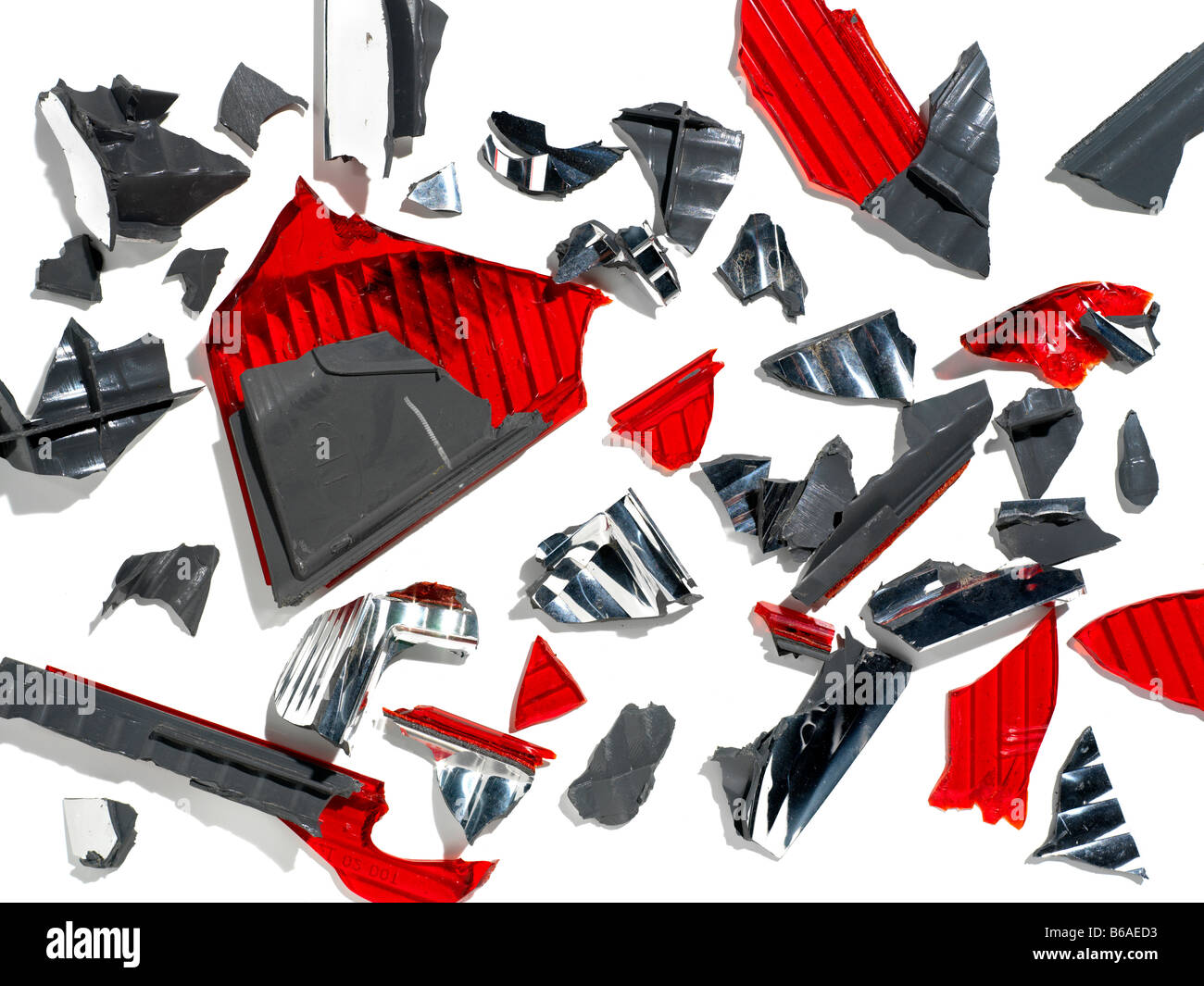 car parts pieces after an accident collision - Stock Image
