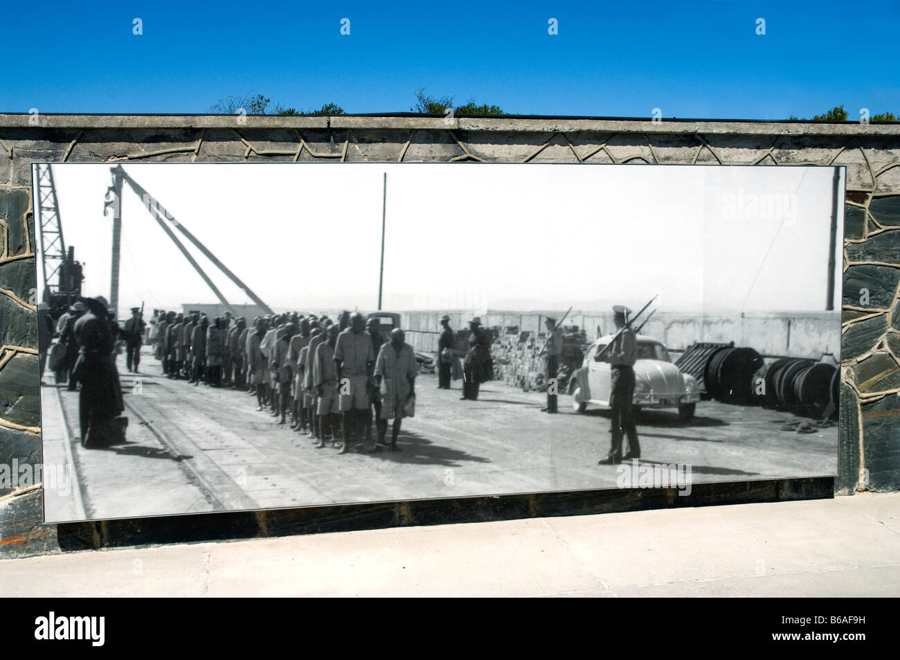 Historical photograph of prisoners arriving on Robben Island Cape Town South Africa - Stock Image