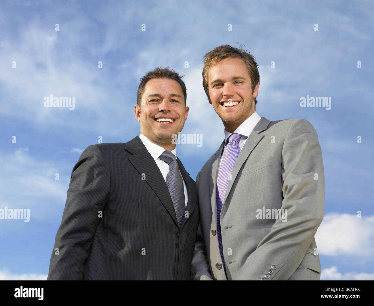 Bridegroom and best man Stock Photo