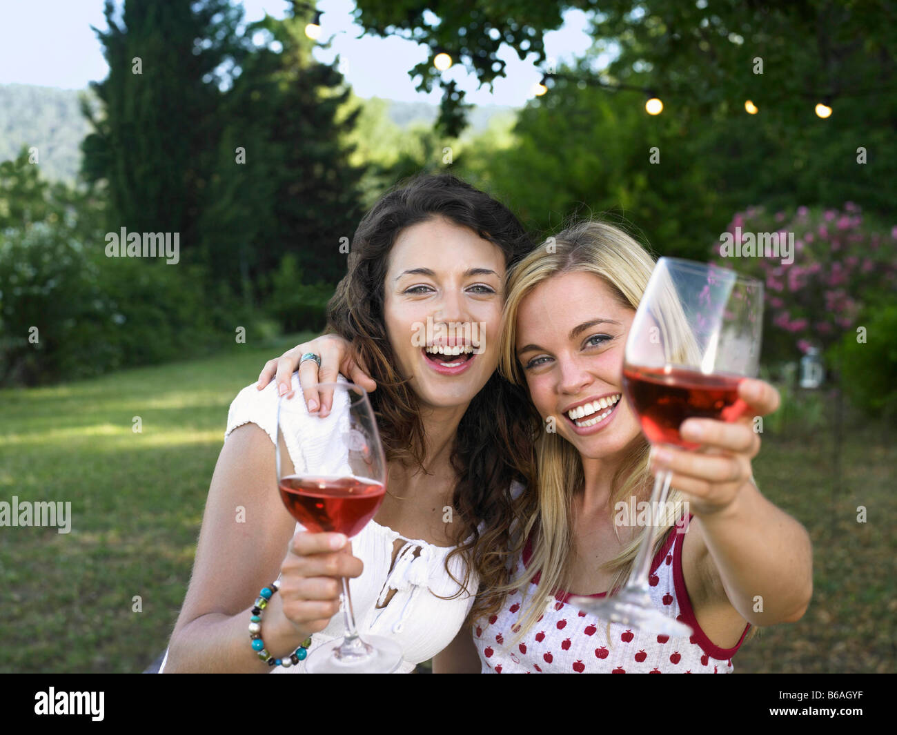 Two women celebrating - Stock Image