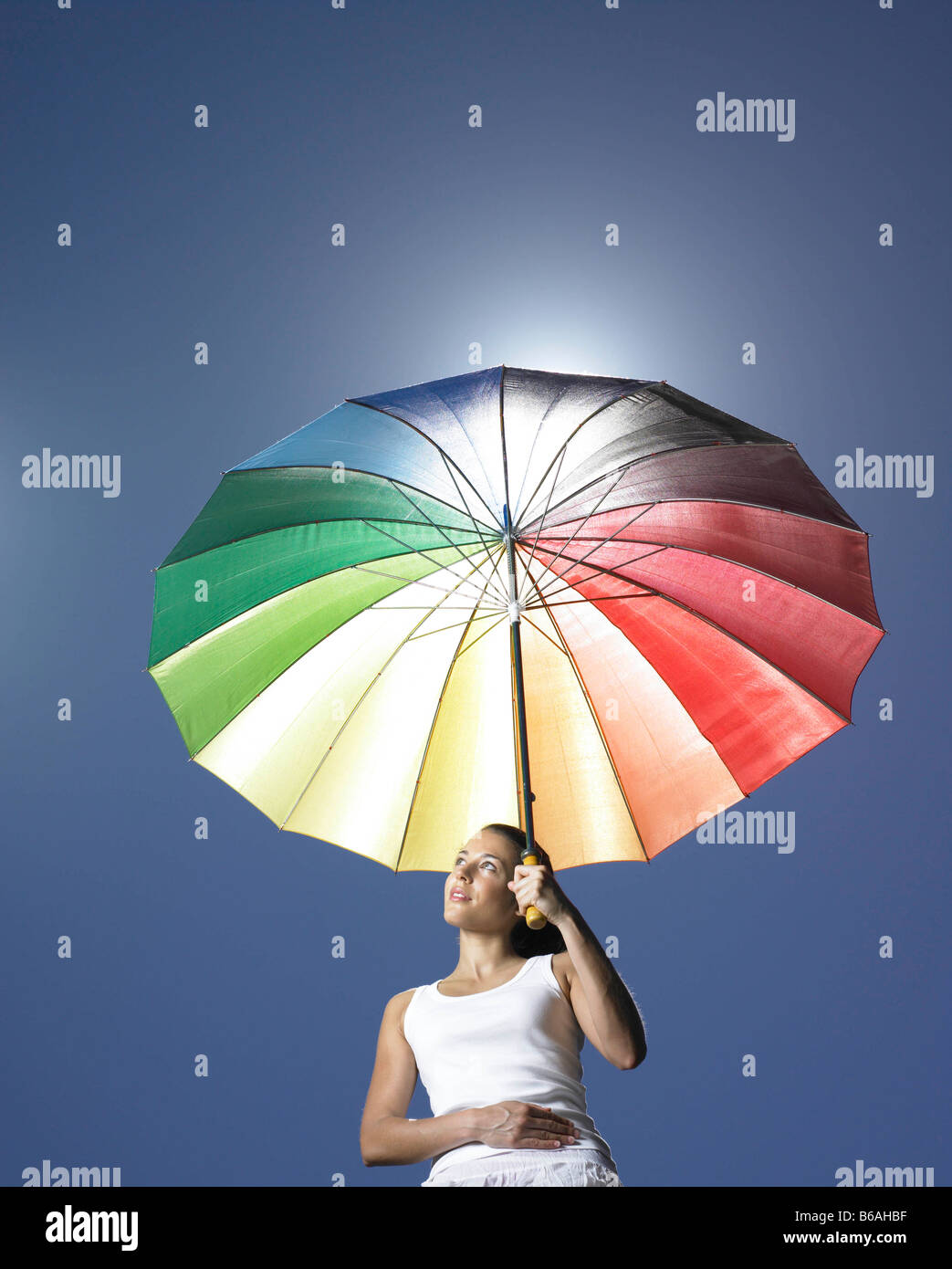 Girl with sun parasol - Stock Image