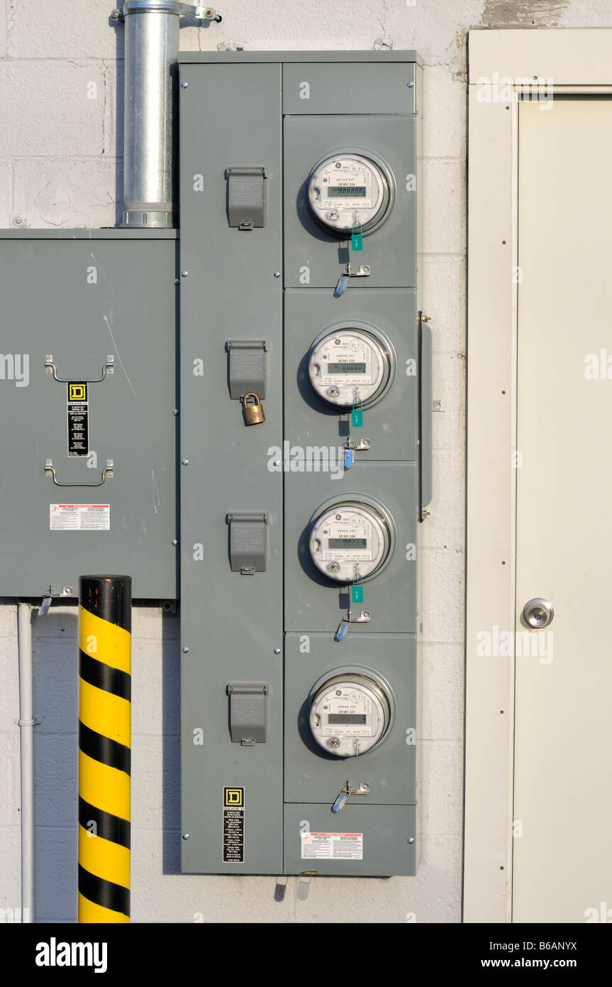 Electricity Power Meter Outside Building Stock Photos & Electricity ...