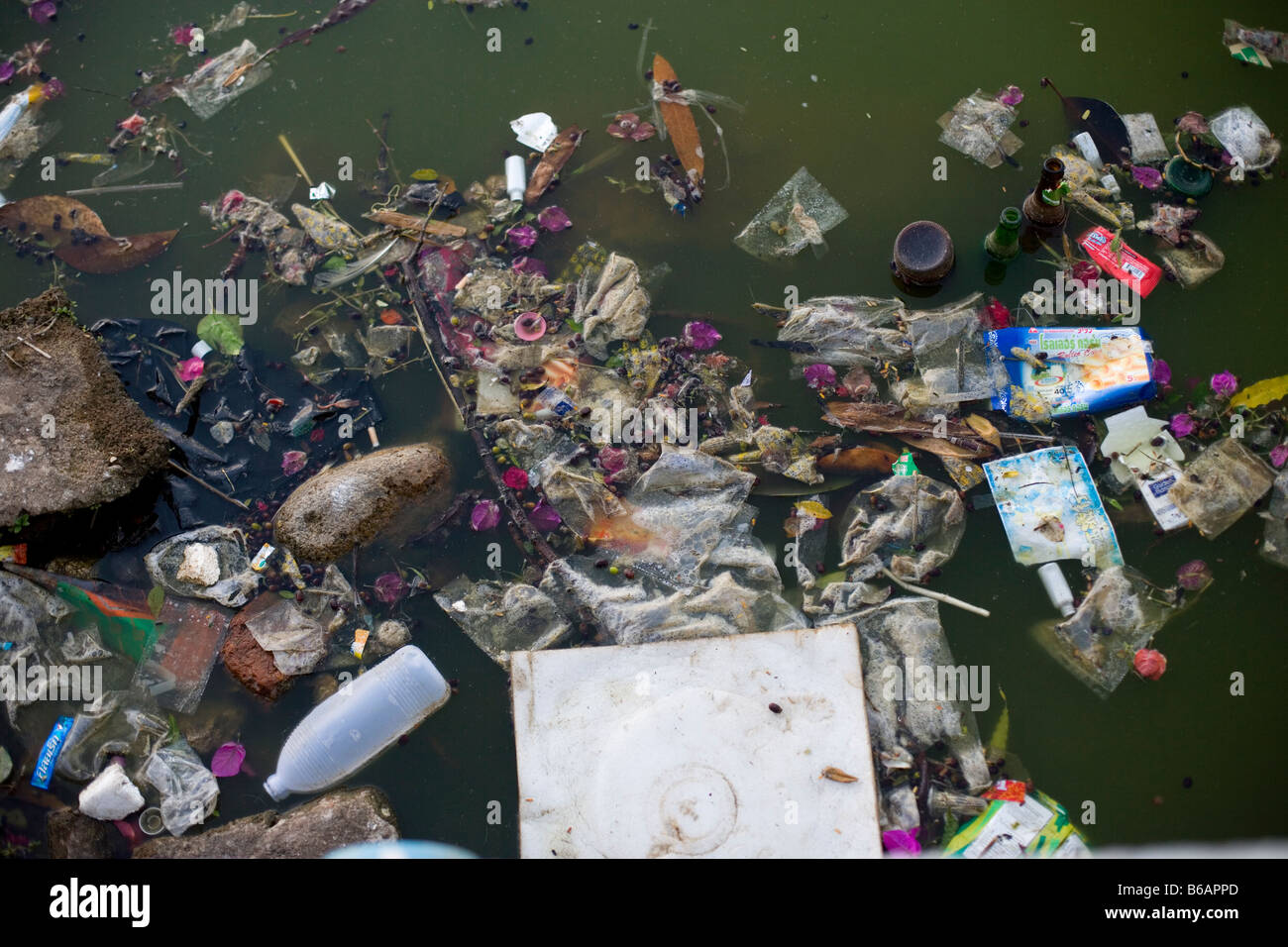 A polluted river. - Stock Image