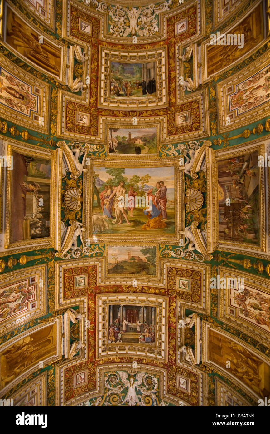 Hall of Maps Vatican Museum Rome Italy - Stock Image