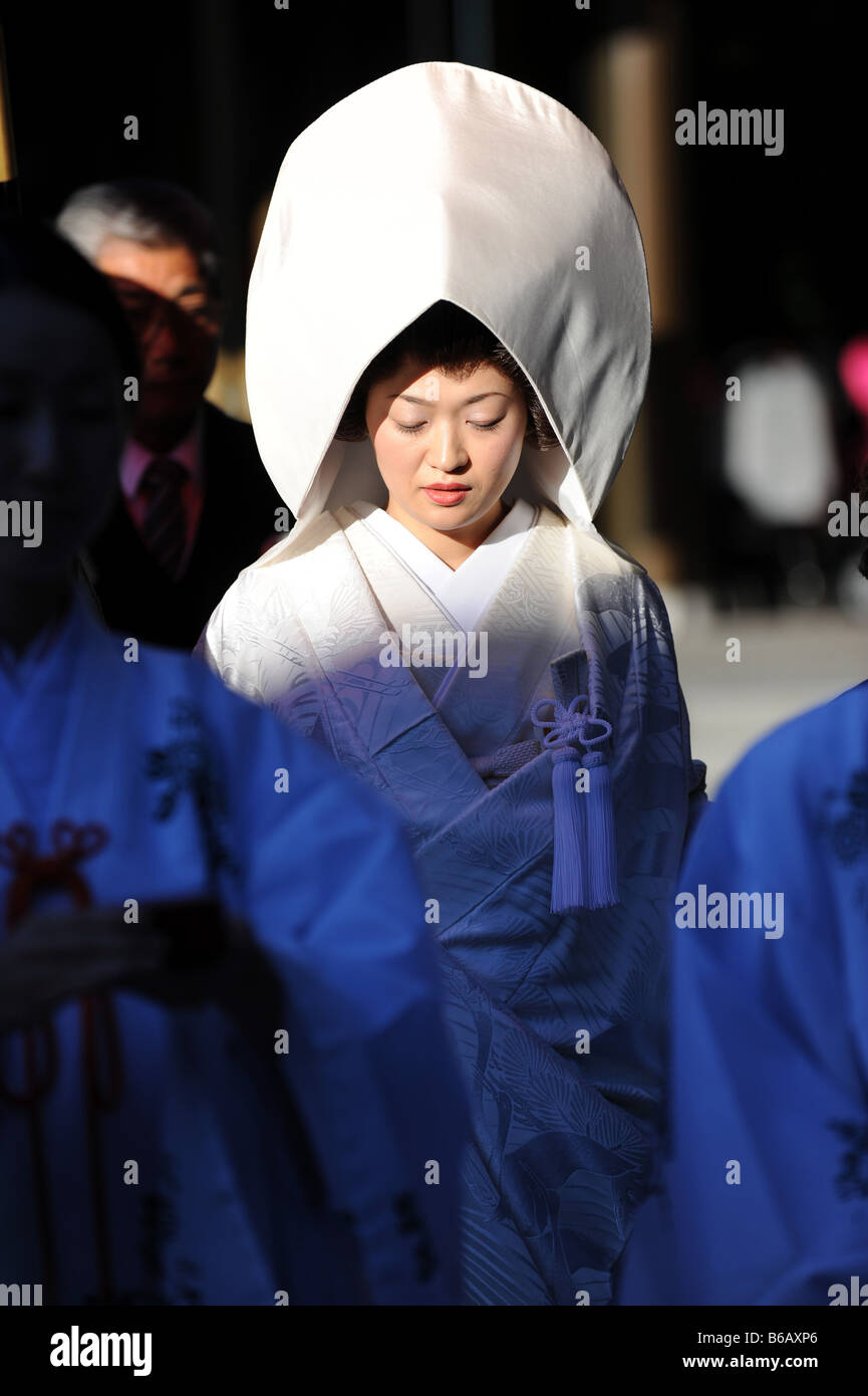 The bride at a Shinto wedding ceremony - Stock Image