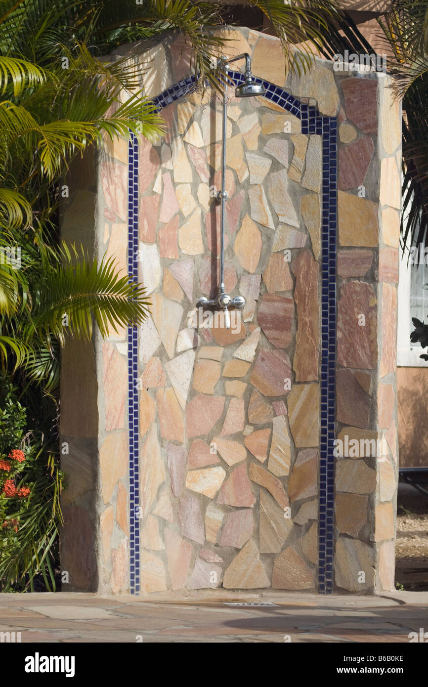 Public outdoor shower by swimming pool area Stock Photo ...