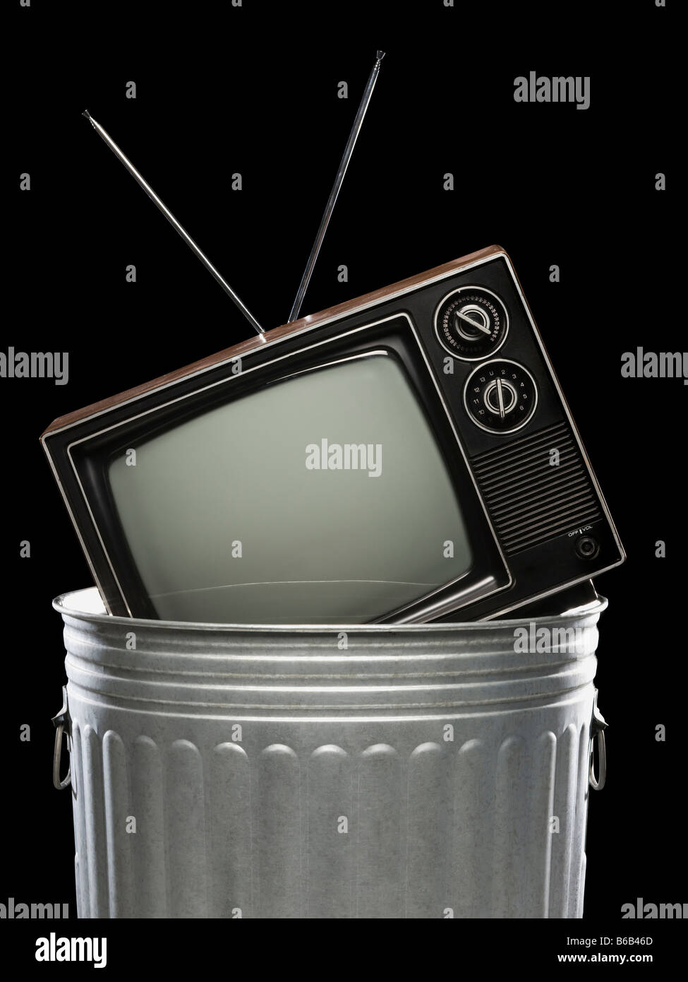 tv in the trash - Stock Image