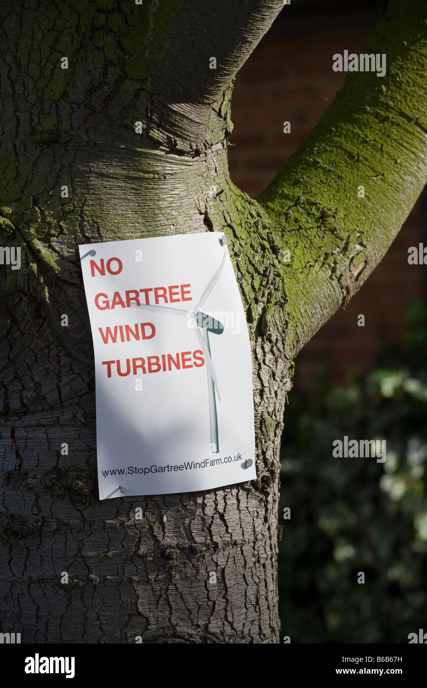 Poster objecting to a proposed wind farm in the leicestershire countryside England - Stock Image