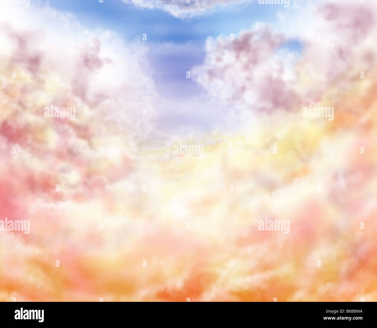Illustration of golden and pastel impressionistic clouds - Stock Image