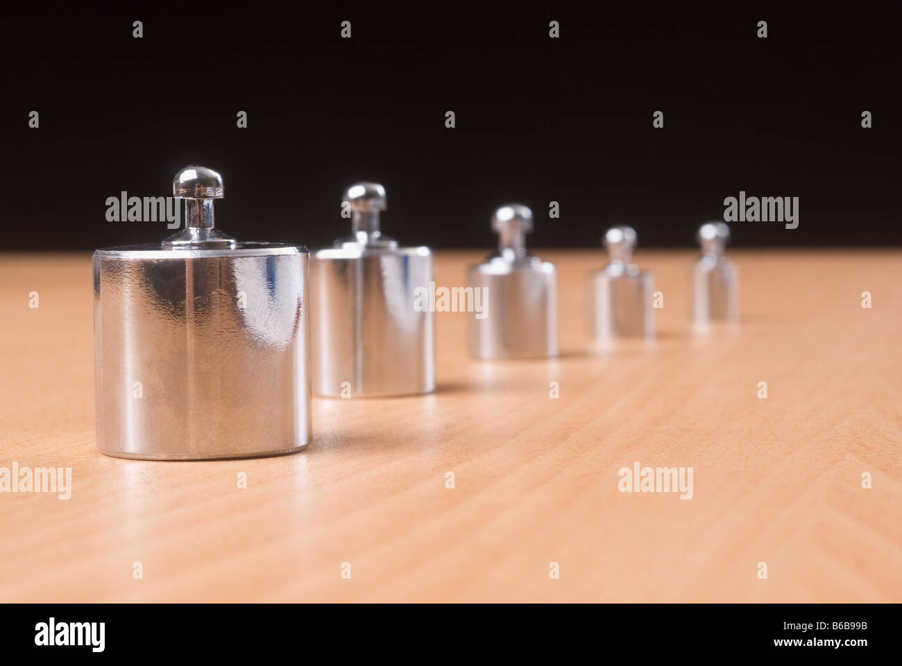 Weights in a row - Stock Image