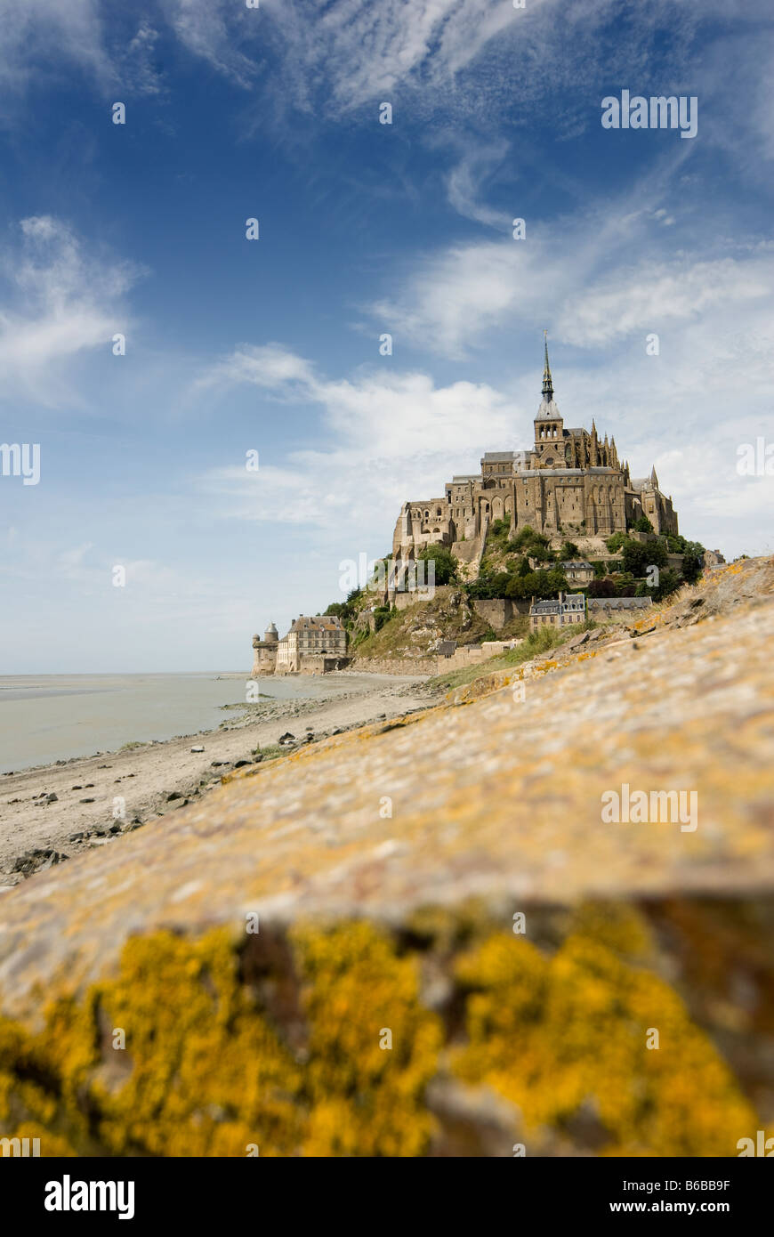 Beautiful view of Mont Saint Michel. St Michaels Mount is a rocky tidal island in Normandy France. Stock Photo