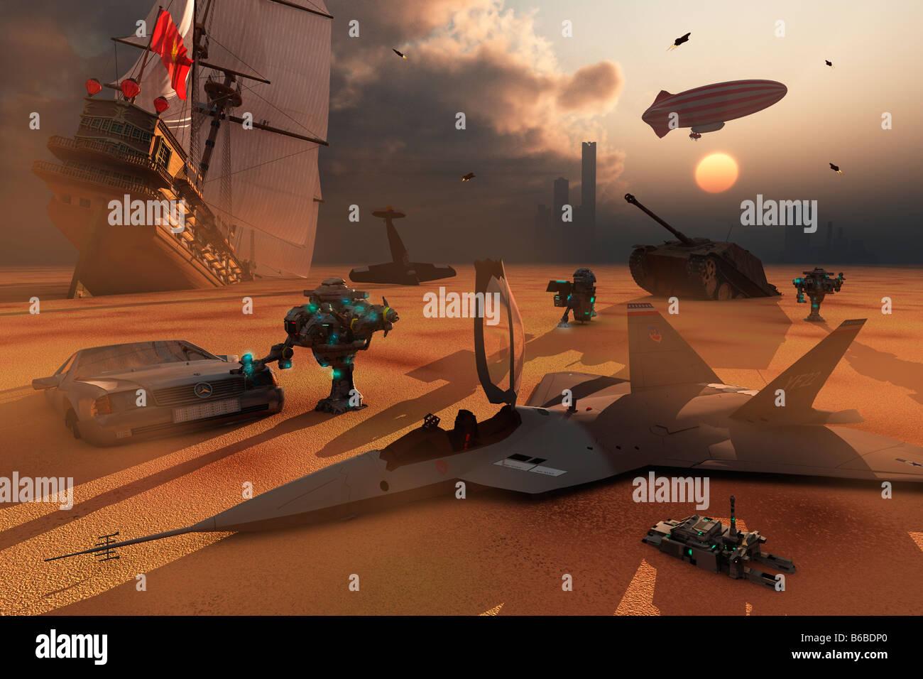Robot Collectors A 3D conceptual Image - Stock Image