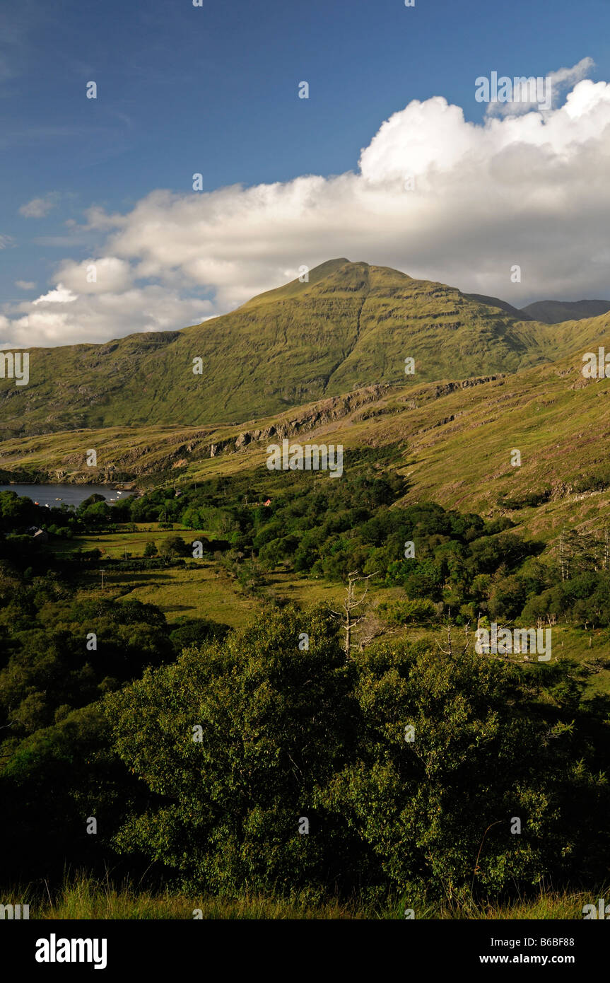 Connemara Mweelrea mountain near lettergesh county galway west of ireland rural irish landscape scene - Stock Image
