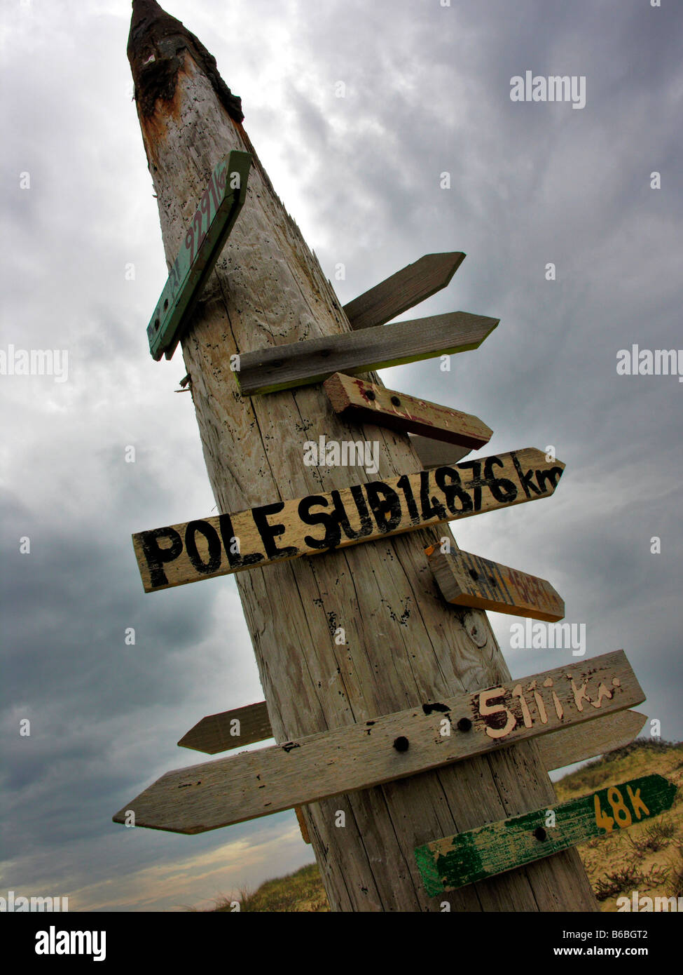 Signboards mounted on wooden pole - Stock Image
