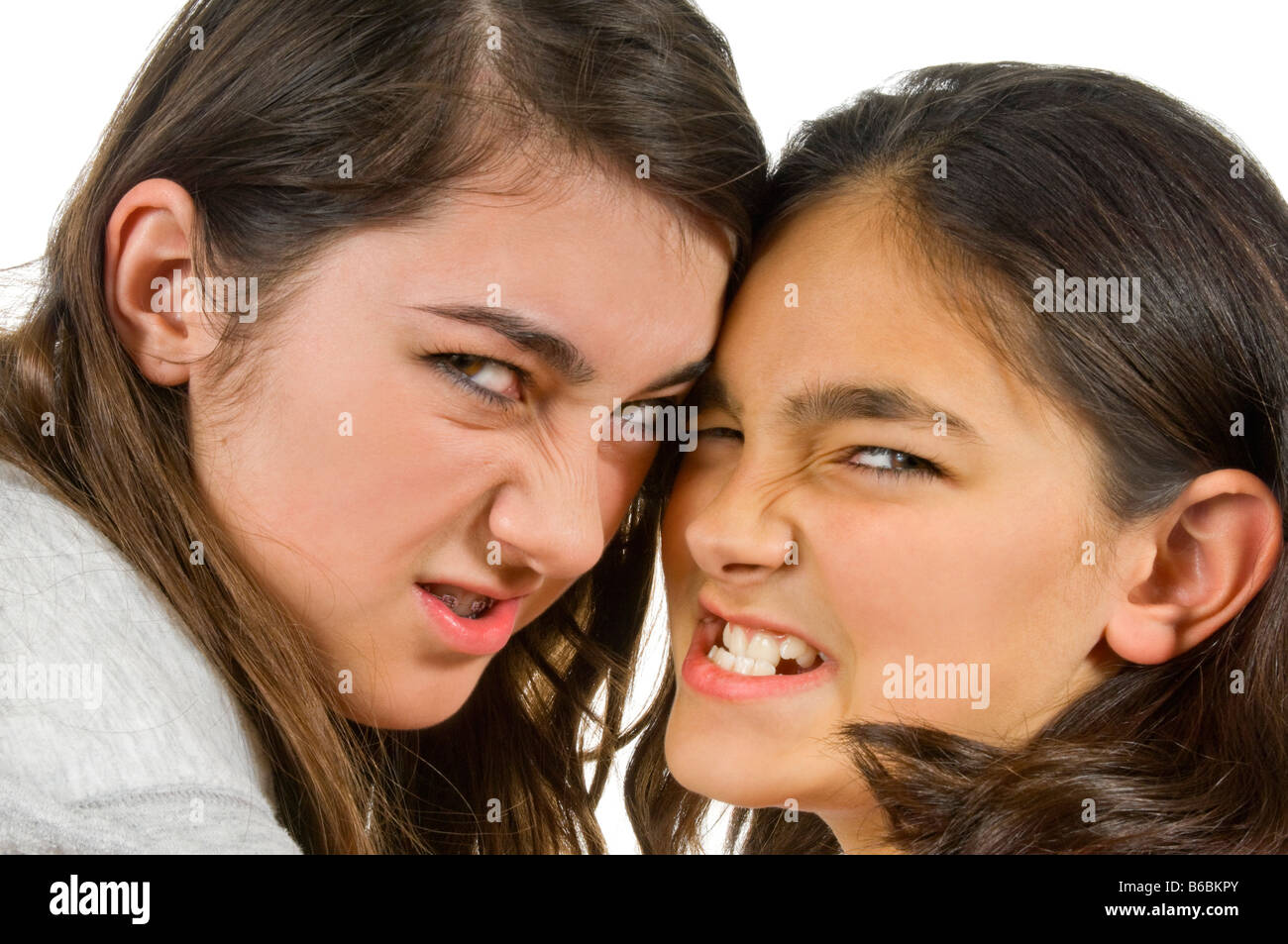 Horizontal close up portrait of two teenage sisters snarling menacingly during a fight against a white background - Stock Image