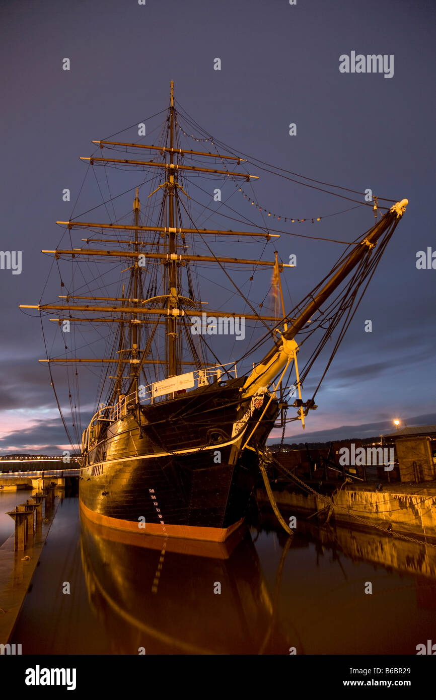 RRS Discovery wooden three-masted research ship. Captain Scott's Arctic explorer vessel at Discovery Point, - Stock Image