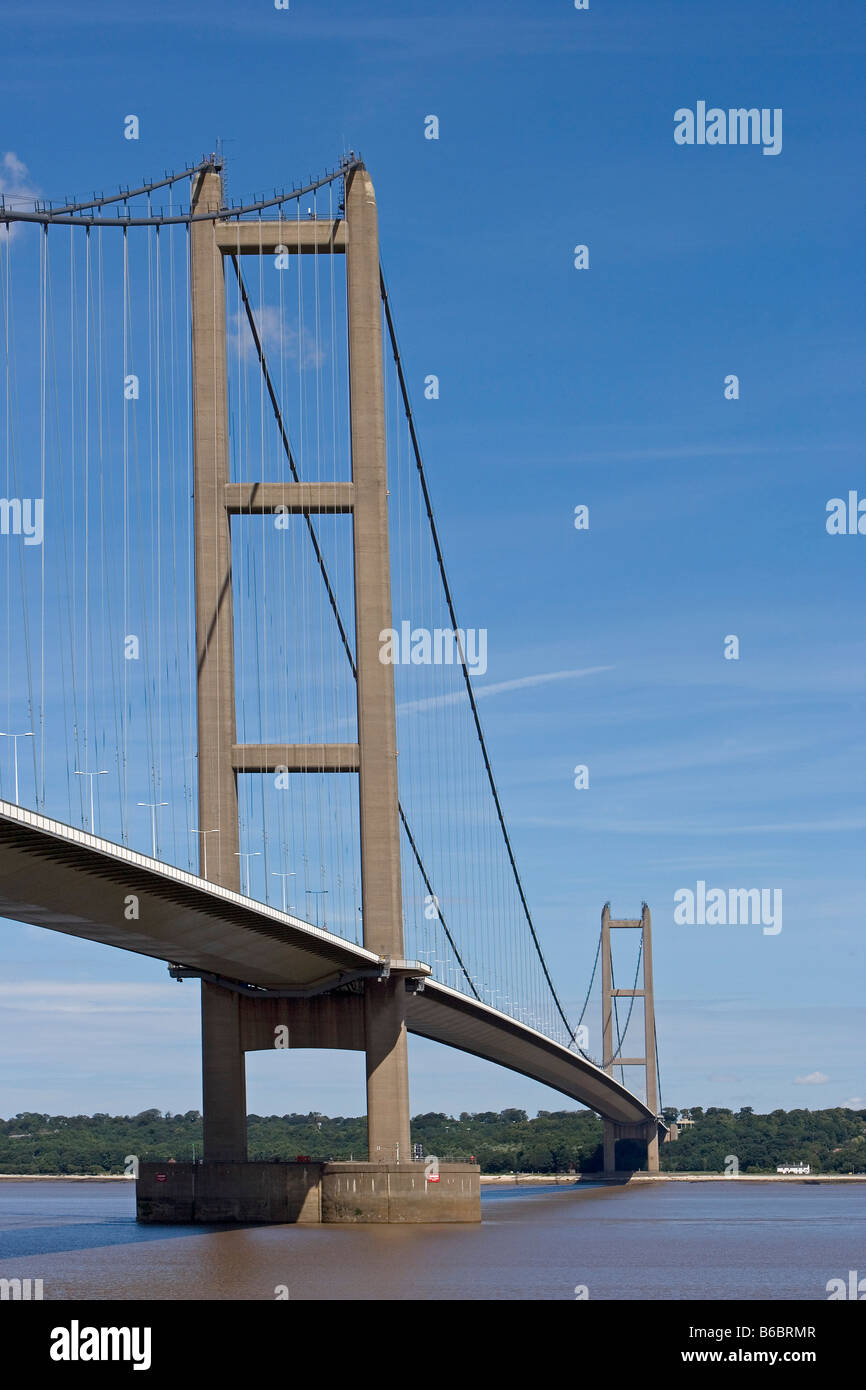 Humber Bridge the fourth largest single span suspension bridge in the world near Kingston upon Hull East Riding Stock Photo