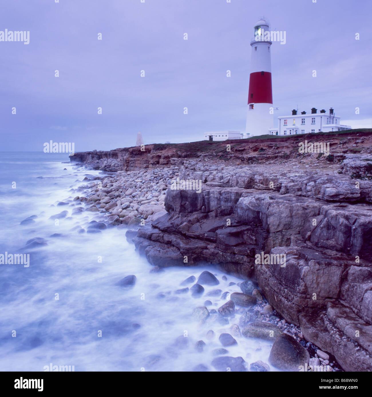 Lighthouse at Portland Bill at dawn, Isle of Portland, Dorset, England - Stock Image