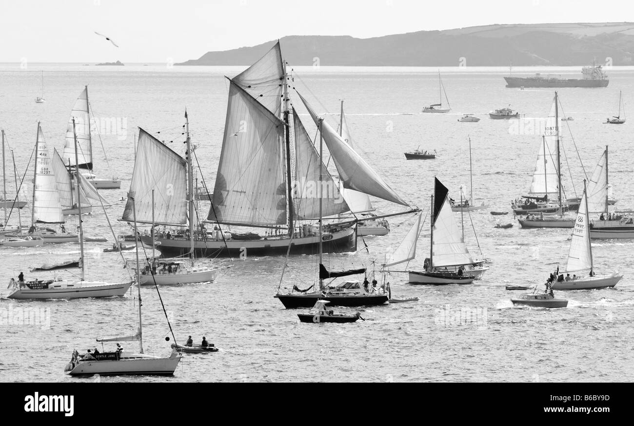 Tall Ship 'Tecla' surrounded by smaller ships during Funchal Tall Ships Regatta, Falmouth, Cornwall, UK - Stock Image
