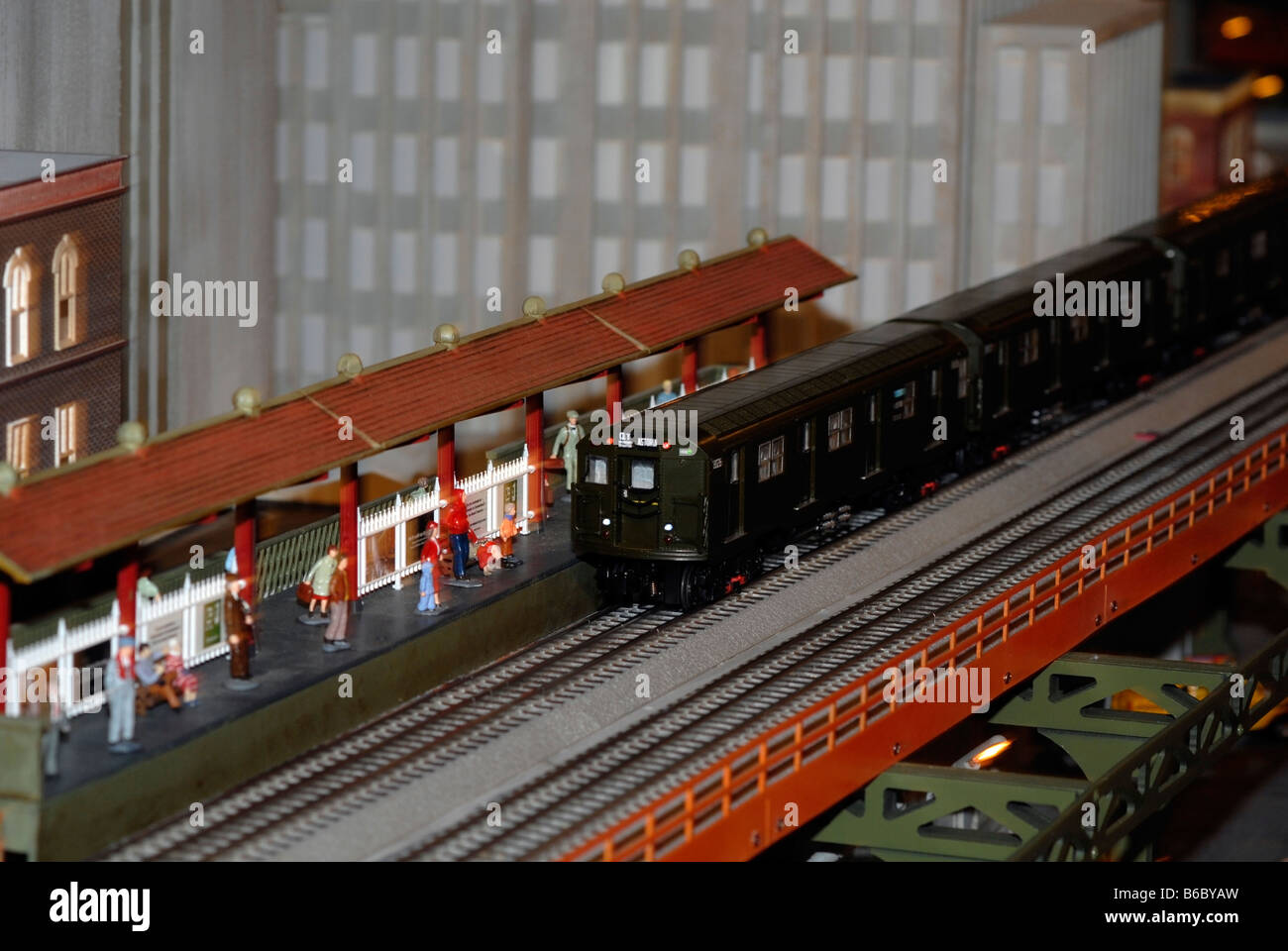 Christmas model railroad exhibit at the New York City Transit Museum in Grand Central Terminal in New York - Stock Image