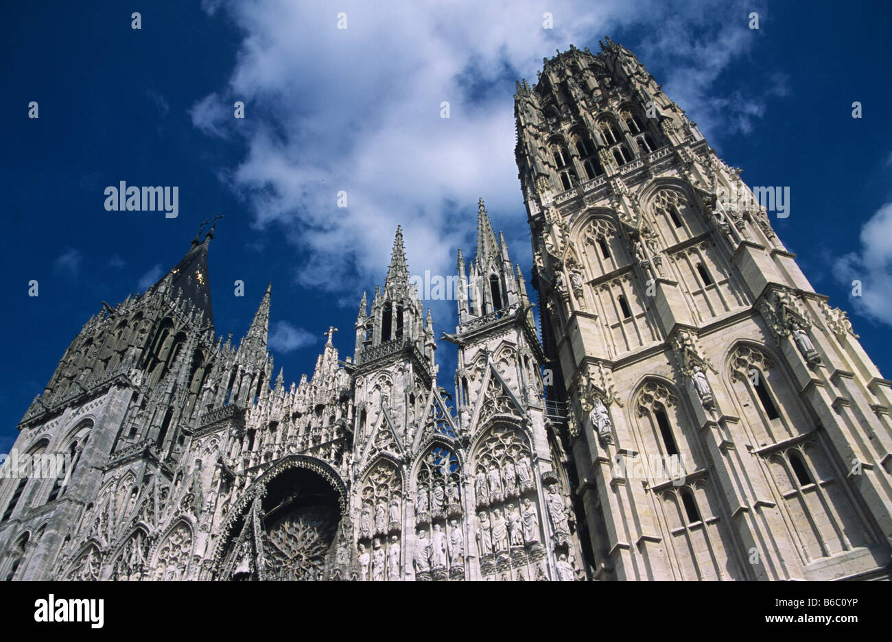 West facade of Rouen Cathedral, Rouen, Normandy, France - Stock Image