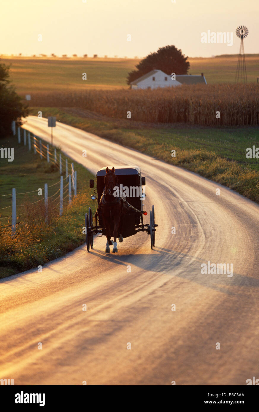 Amish horse drawn buggy on a rural road, Lancaster County, Pennsylvania, USA - Stock Image
