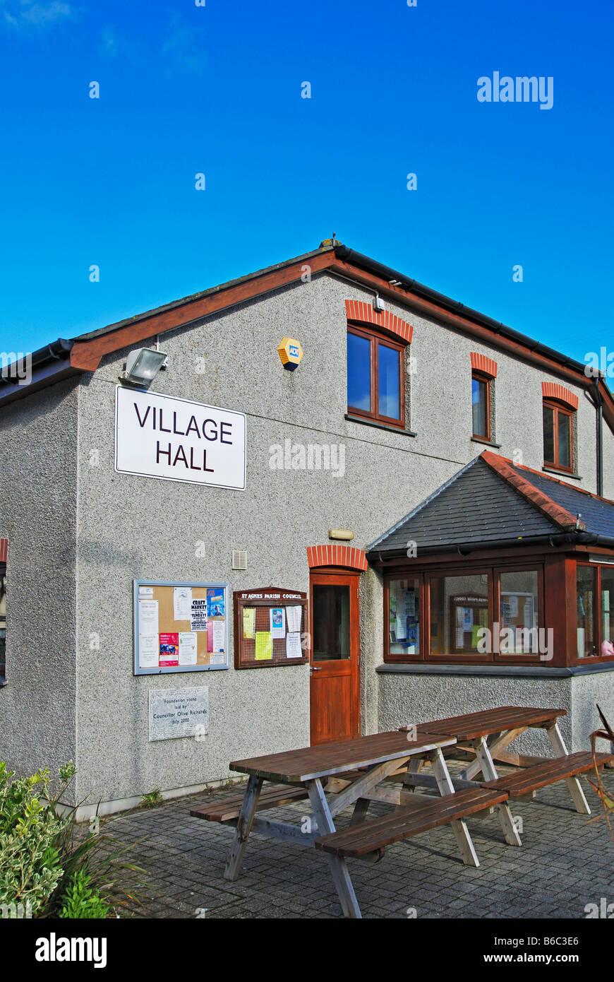 the village hall at porthtowan,cornwall,uk - Stock Image