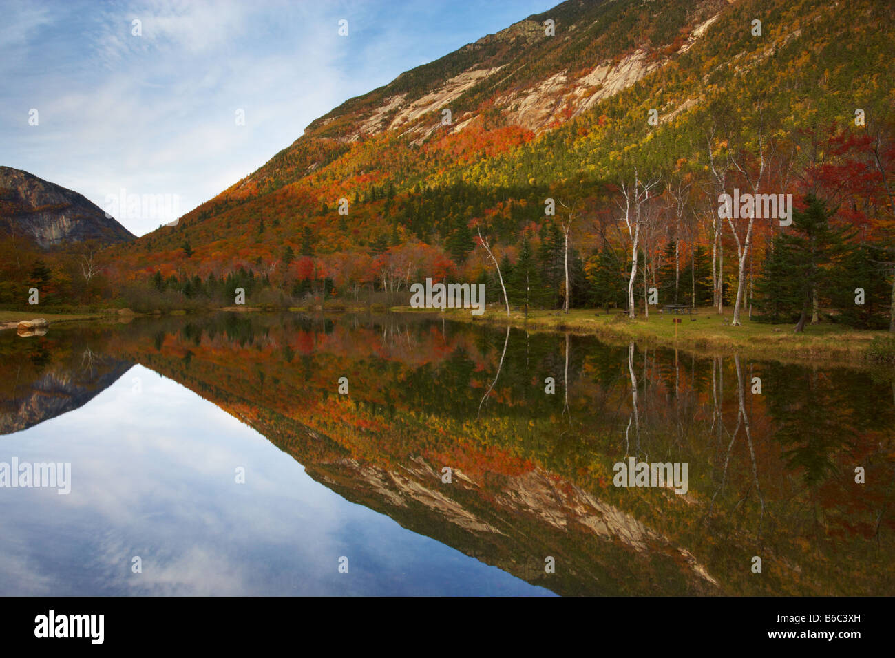 Autumnal reflections in Crawford Notch State Park in New Hampshire, USA Stock Photo