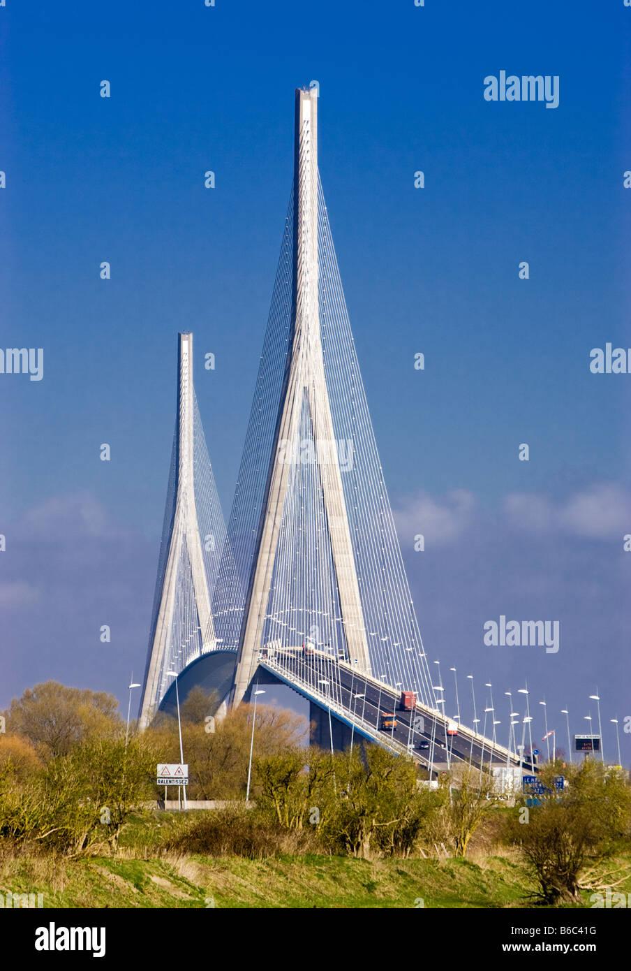 Pont de Normandie suspension bridge over the Seine at Le Harve, Normandy, France - Stock Image