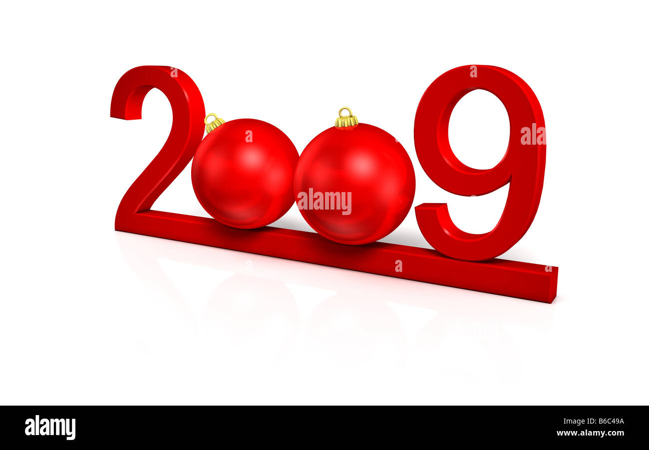 happy newyear red greeting card on white background - Stock Image