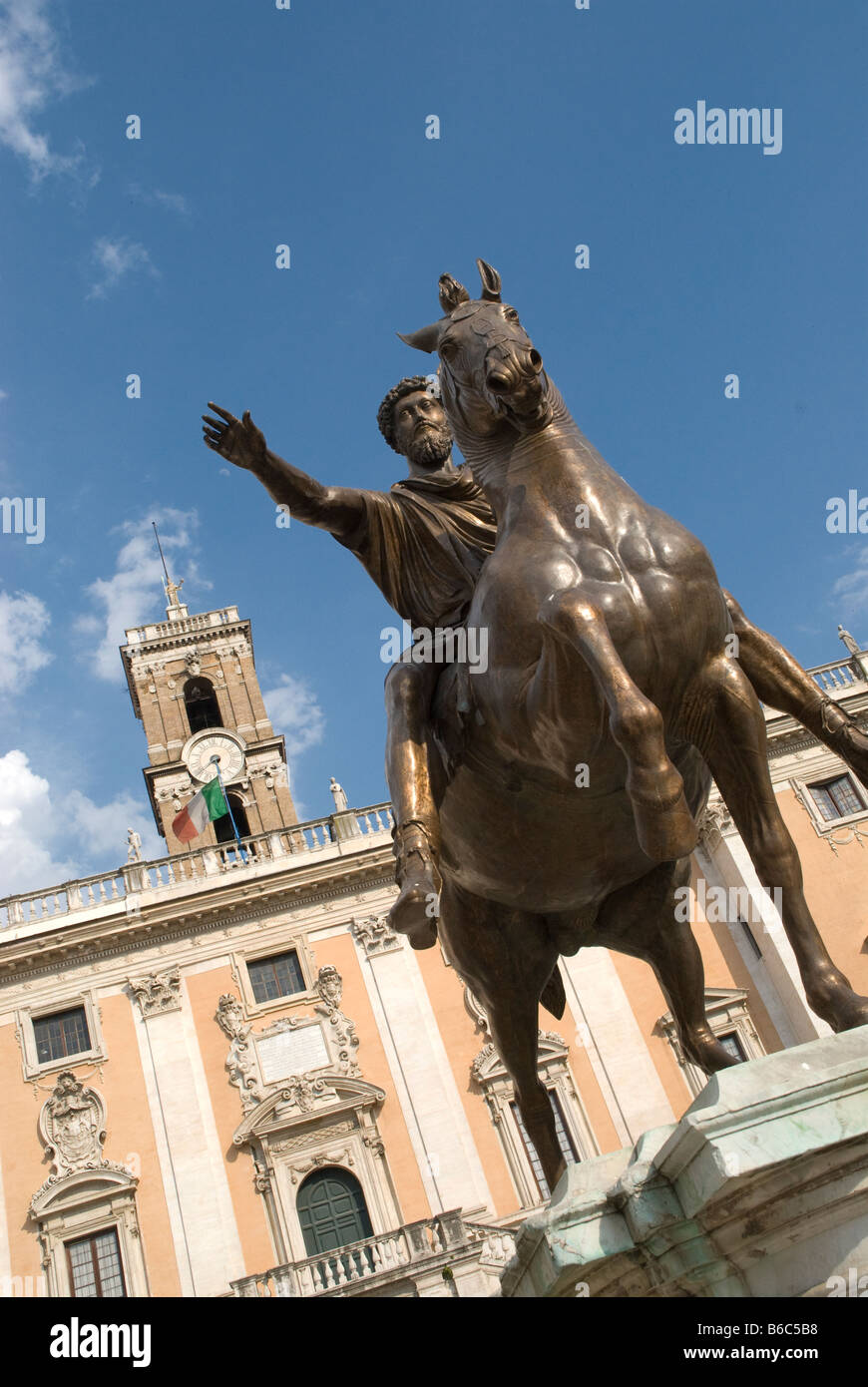 The statue of a mounted rider in the centre of the Piazza Del Campidoglio at the western end of the Roman Forum - Stock Image