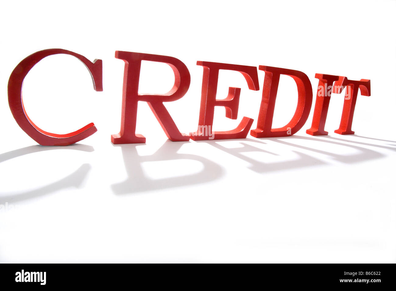 The word credit looming large in red - Stock Image