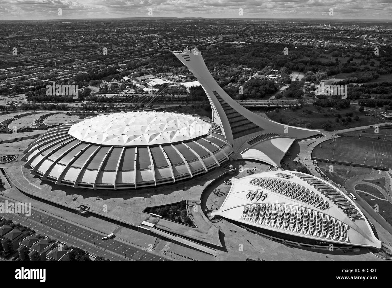 aerial view above Olympic stadium and Biodome Montreal Quebec Canada - Stock Image
