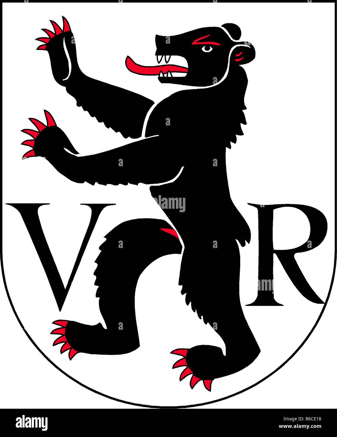 illustration flag of canton of appenzell ausserrhoden switzerland - Stock Image