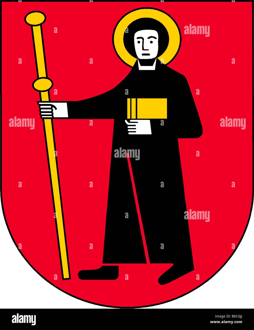 illustration flag of canton of glarus switzerland - Stock Image