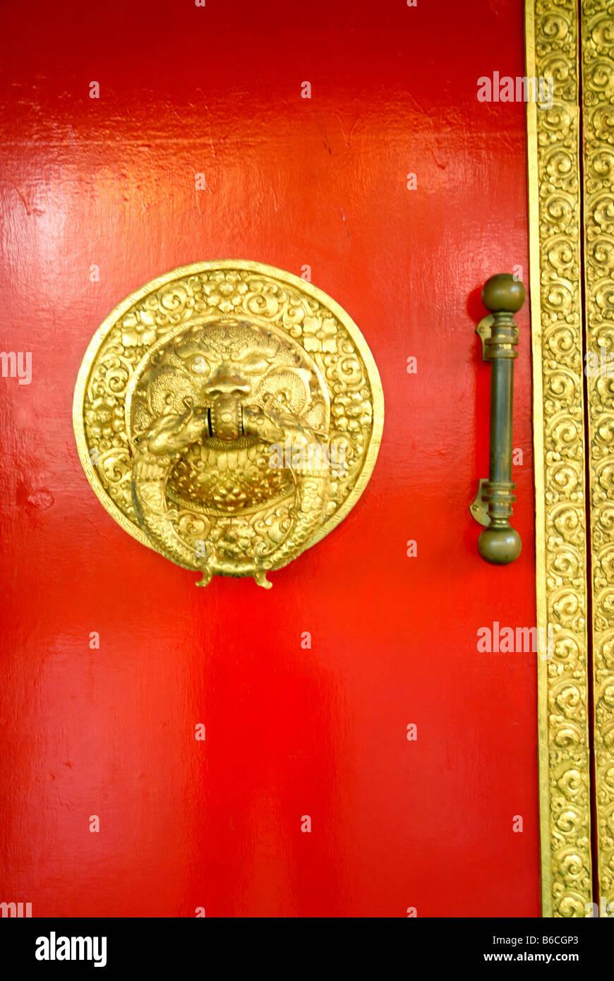 BUDDHIST GOLDEN TEMPLE IN BYLAKUPPE COORG KARNATAKA Stock Photo