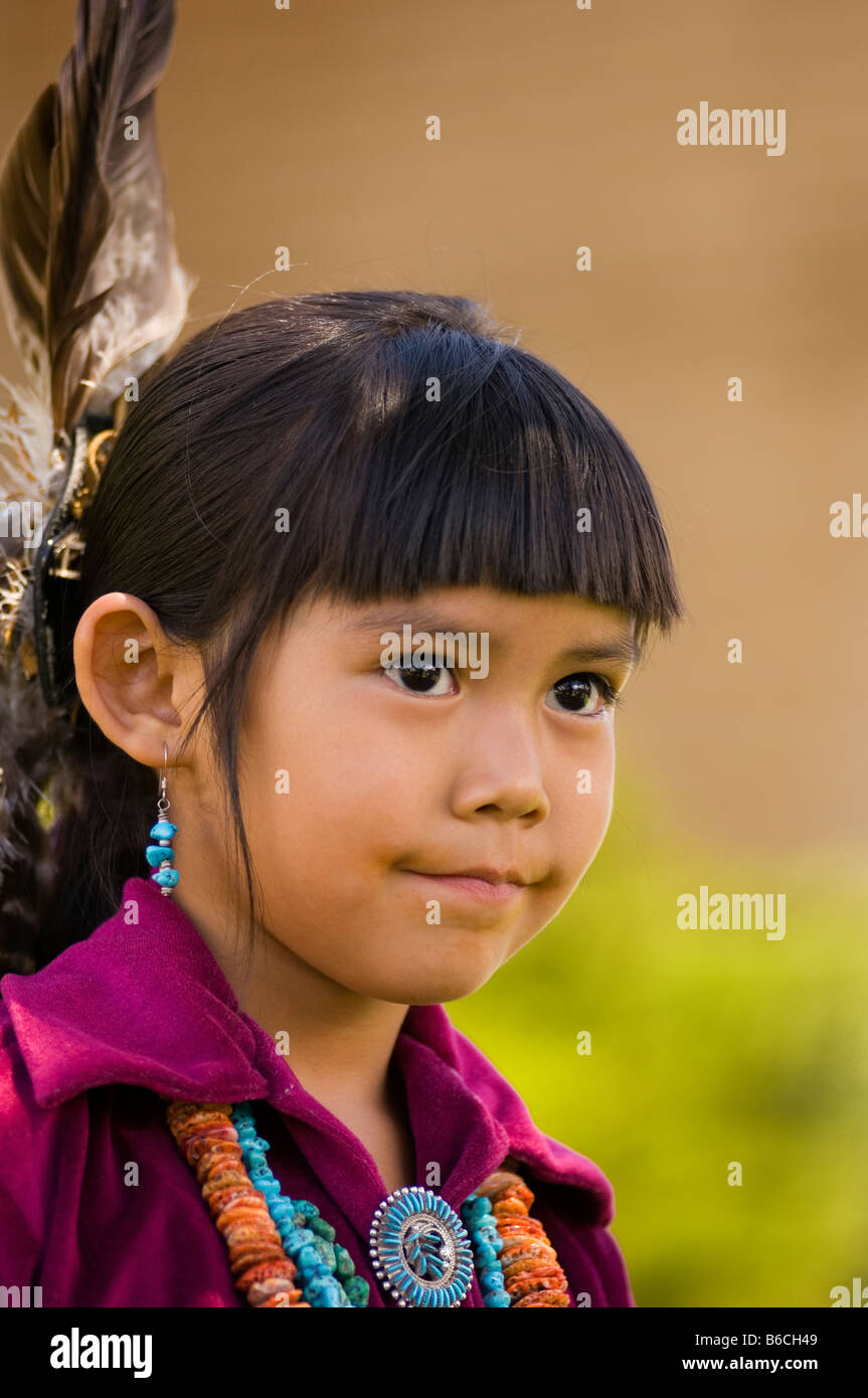 Young Navajo girl in contemporary ceremonial dress Grand Canyon Arizona - Stock Image