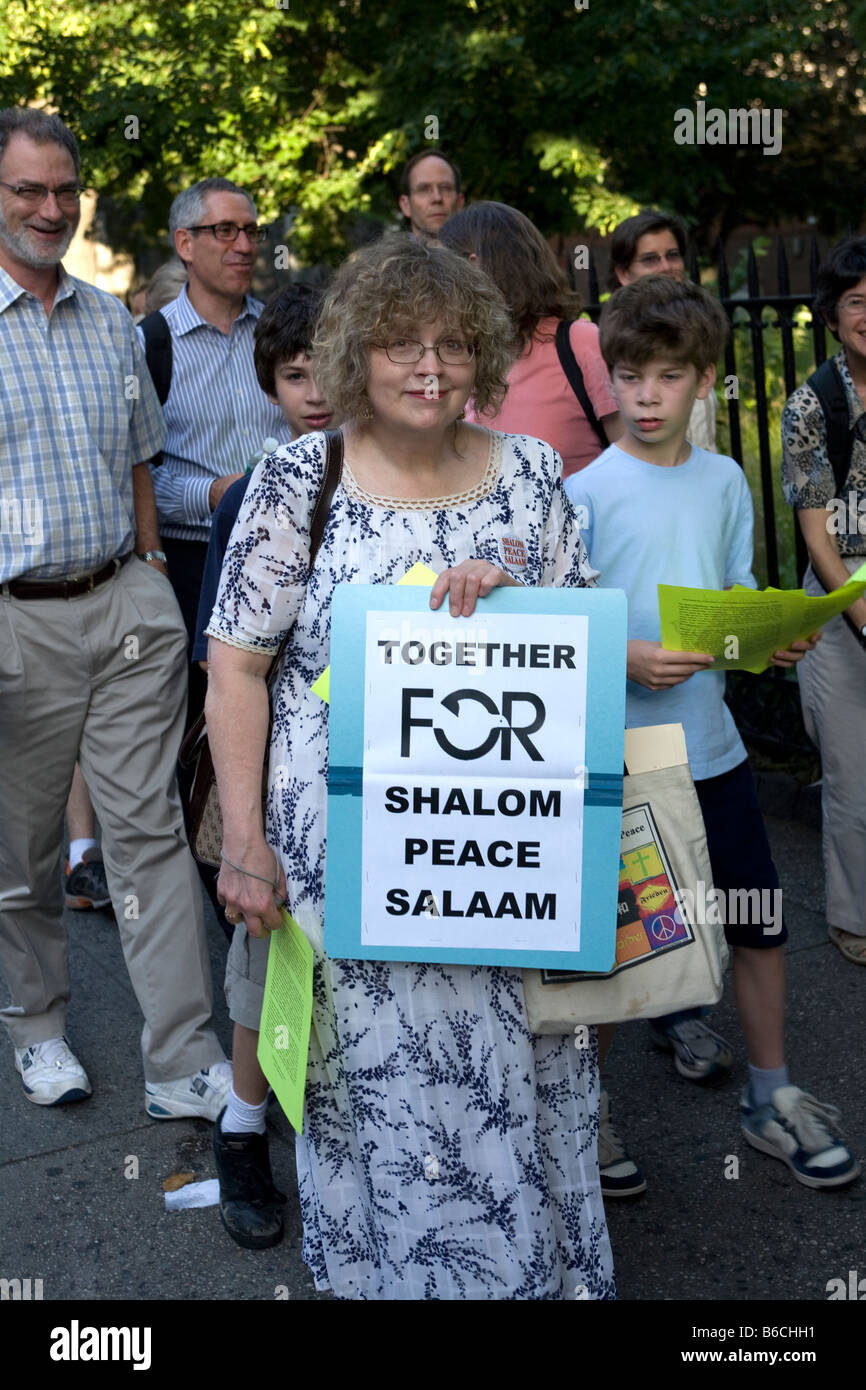 Participants in an annual interfaith peace march in the Flatbush section of Brooklyn New York - Stock Image