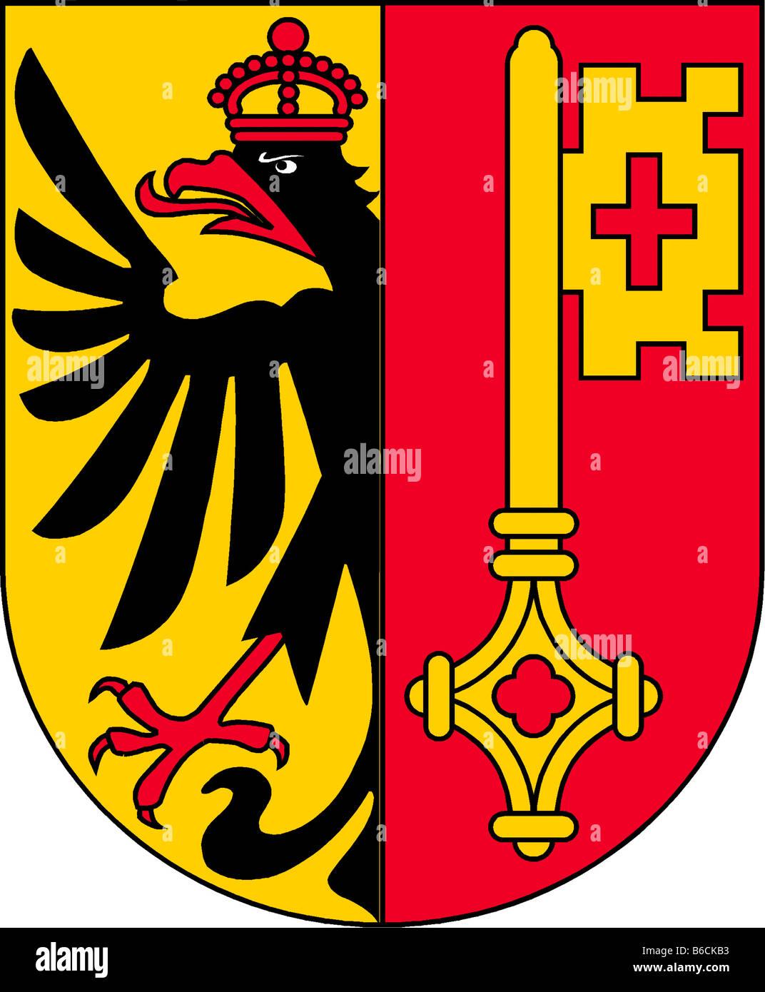 illustration flag of canton of geneva switzerland - Stock Image