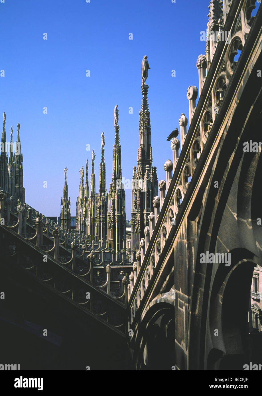 Architectural feature of cathedral, Milan Cathedral, Milan, Lombardy, Italy - Stock Image