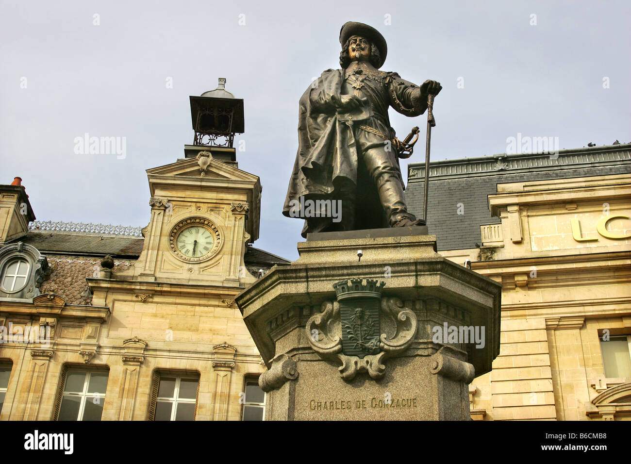 Statue of Charles De Conzacue in the town of Charleville-Mezieres in the Ardennes, France. - Stock Image